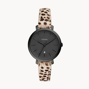 🌼 NWT Fossil faux cheetah hair leather watch